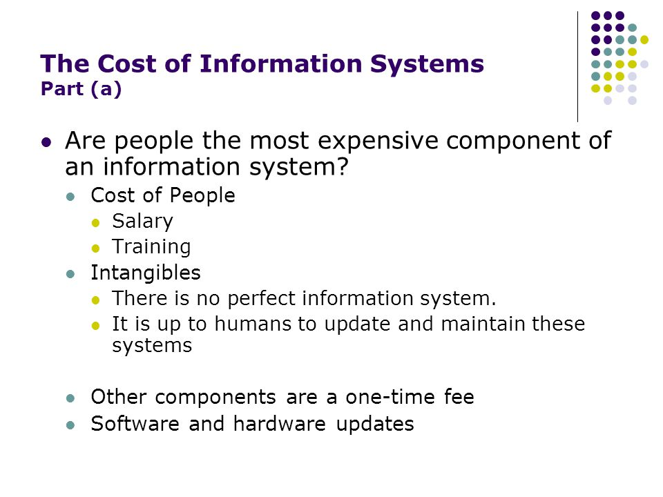 The Cost of Information Systems Part (a) Are people the most expensive component of an information system.