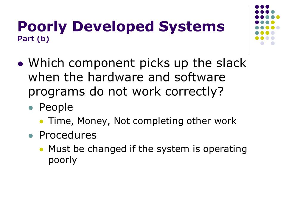 The Cost of a Poorly Designed System Part (b) Direct Money Costs More spent on a new system Training Time lost using the old, ineffective system Intangible Costs Lack of knowledge Inaccurate information