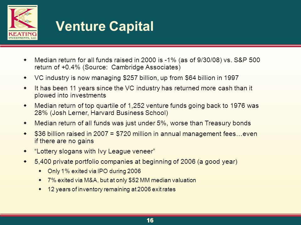 16 Venture Capital  Median return for all funds raised in 2000 is -1% (as of 9/30/08) vs.