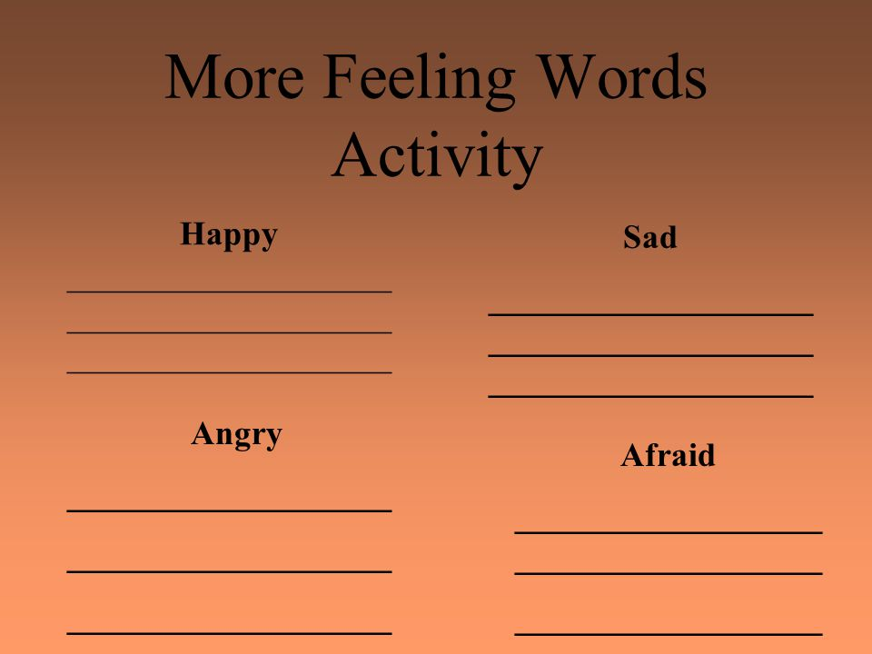 More Feeling Words Activity Happy ___________________ Angry ___________________ Sad ___________________ ___________________ ___________________ Afraid