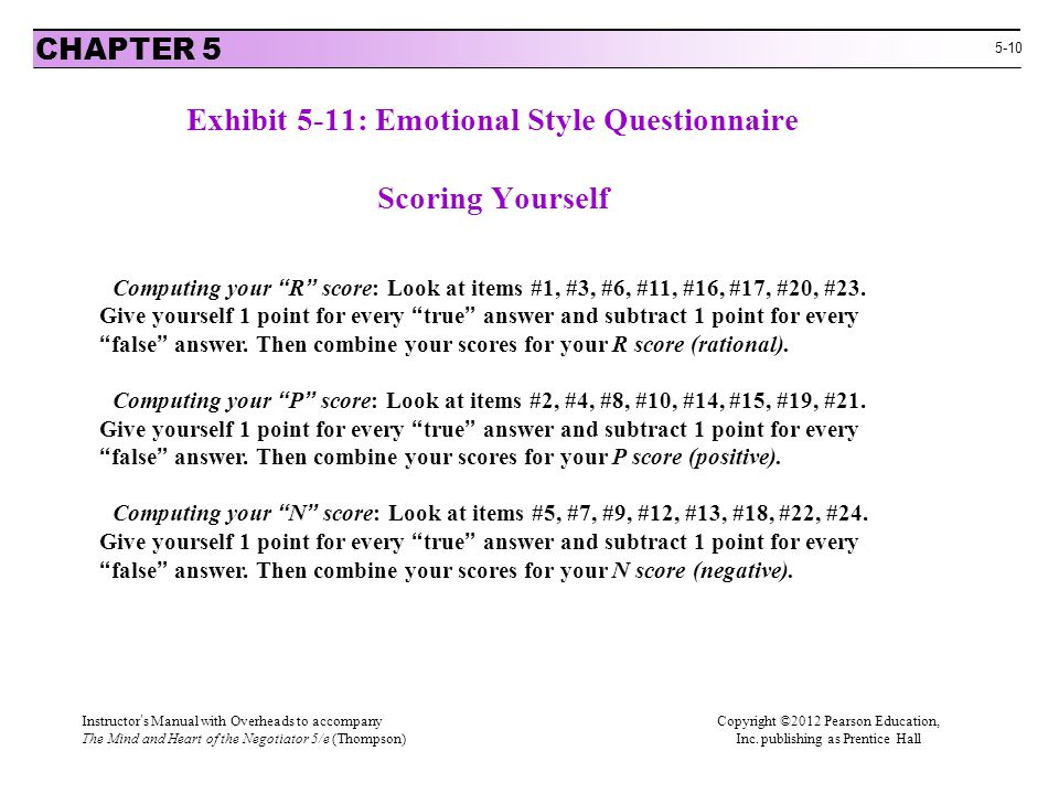 "5-10 Exhibit 5-11: Emotional Style Questionnaire Scoring Yourself CHAPTER 5 Computing your ""R"" score: Look at items #1, #3, #6, #11, #16, #17, #20, #2"