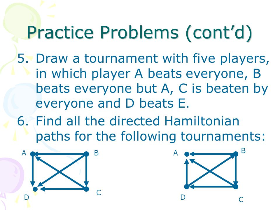 Practice Problems (cont'd) 5.Draw a tournament with five players, in which player A beats everyone, B beats everyone but A, C is beaten by everyone and D beats E.