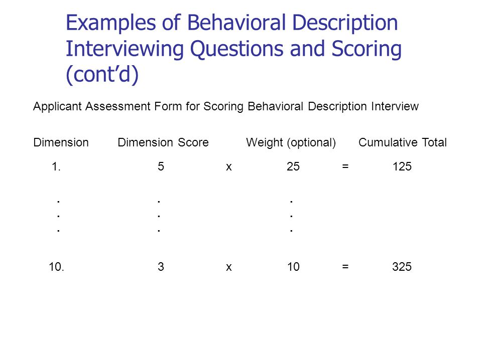 Examples of Behavioral Description Interviewing Questions and Scoring (cont'd) Applicant Assessment Form for Scoring Behavioral Description Interview