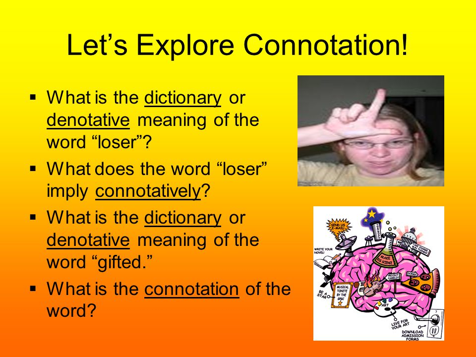 "Let's Explore Connotation!  What is the dictionary or denotative meaning of the word ""loser""?  What does the word ""loser"" imply connotatively?  Wha"