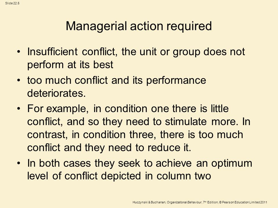 Slide 22.5 Huczynski & Buchanan, Organizational Behaviour, 7 th Edition, © Pearson Education Limited 2011 Managerial action required Insufficient conf