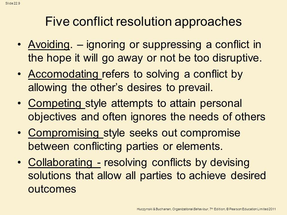 Slide 22.9 Huczynski & Buchanan, Organizational Behaviour, 7 th Edition, © Pearson Education Limited 2011 Five conflict resolution approaches Avoiding