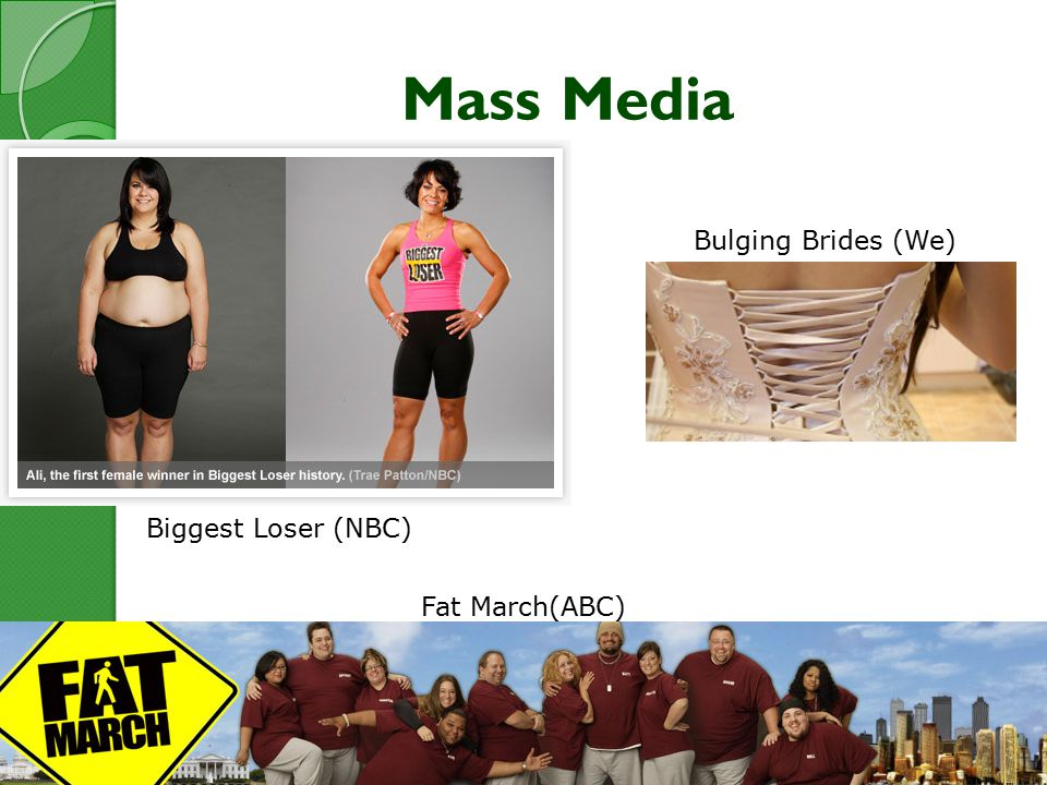 Mass Media Biggest Loser (NBC) Bulging Brides (We) Fat March(ABC)