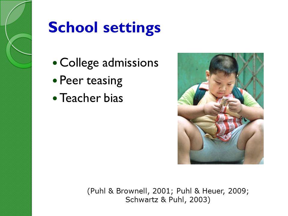 School settings College admissions Peer teasing Teacher bias (Puhl & Brownell, 2001; Puhl & Heuer, 2009; Schwartz & Puhl, 2003)