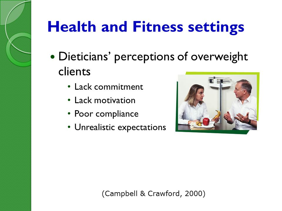 Health and Fitness settings Dieticians' perceptions of overweight clients Lack commitment Lack motivation Poor compliance Unrealistic expectations (Campbell & Crawford, 2000)