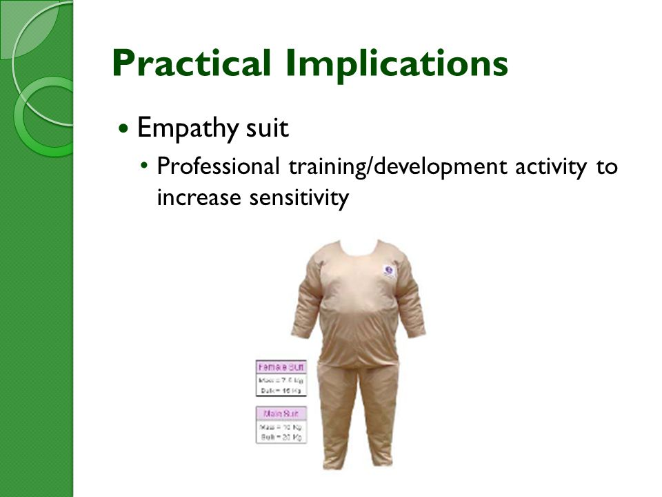 Practical Implications Empathy suit Professional training/development activity to increase sensitivity