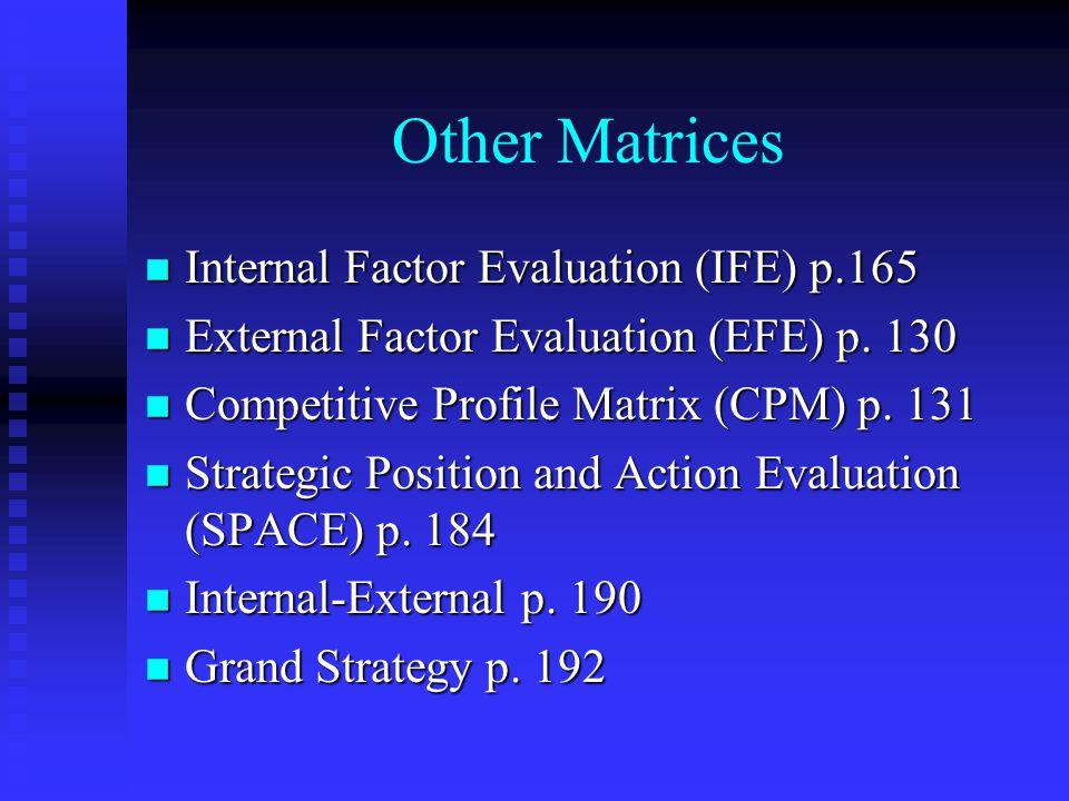 Other Matrices n Internal Factor Evaluation (IFE) p.165 n External Factor Evaluation (EFE) p. 130 n Competitive Profile Matrix (CPM) p. 131 n Strategi
