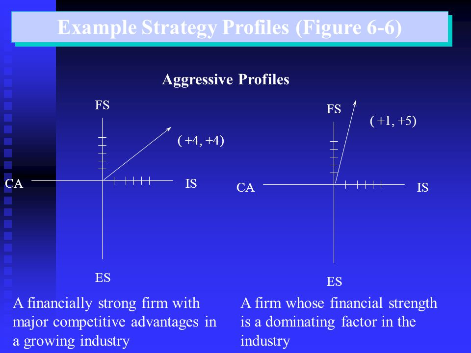 Example Strategy Profiles (Figure 6-6) Aggressive Profiles ISCA ES FS ( +4, +4) A financially strong firm with major competitive advantages in a growi