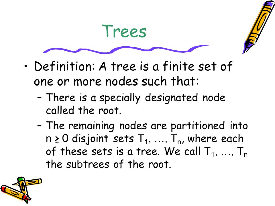 Tree Representations A B A BC A B A B A BC A B C Left child-right sibling Binary tree