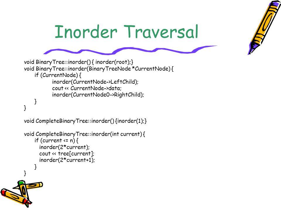 Inorder Traversal void BinaryTree::inorder() { inorder(root);} void BinaryTree::inorder(BinaryTreeNode *CurrentNode) { if (CurrentNode) { inorder(Curr