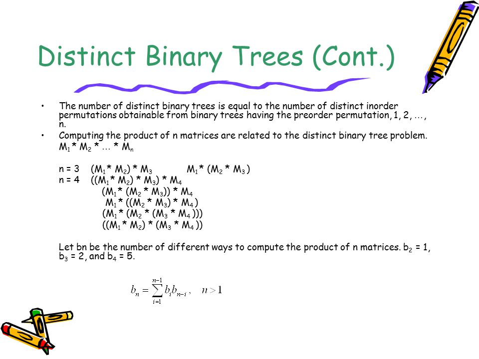 Distinct Binary Trees (Cont.) The number of distinct binary trees is equal to the number of distinct inorder permutations obtainable from binary trees