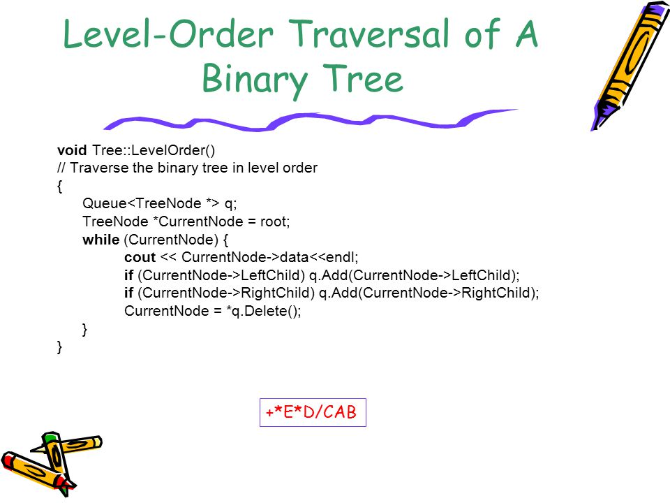 Level-Order Traversal of A Binary Tree void Tree::LevelOrder() // Traverse the binary tree in level order { Queue q; TreeNode *CurrentNode = root; whi