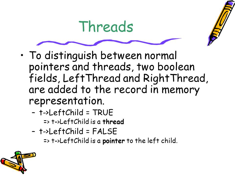 Threads To distinguish between normal pointers and threads, two boolean fields, LeftThread and RightThread, are added to the record in memory represen