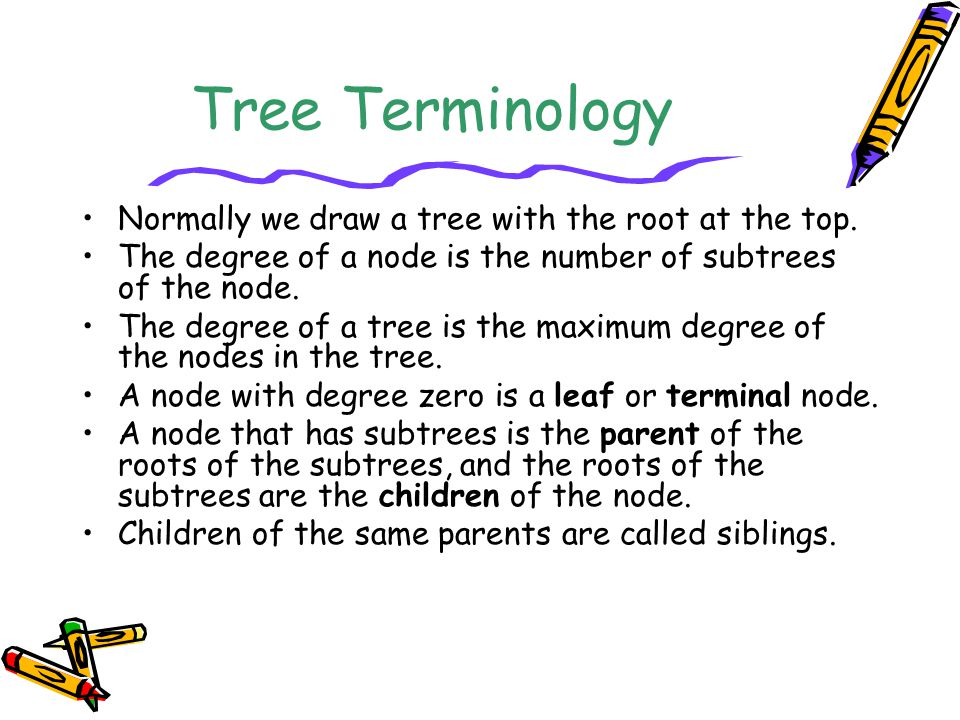 Tree Terminology Normally we draw a tree with the root at the top. The degree of a node is the number of subtrees of the node. The degree of a tree is