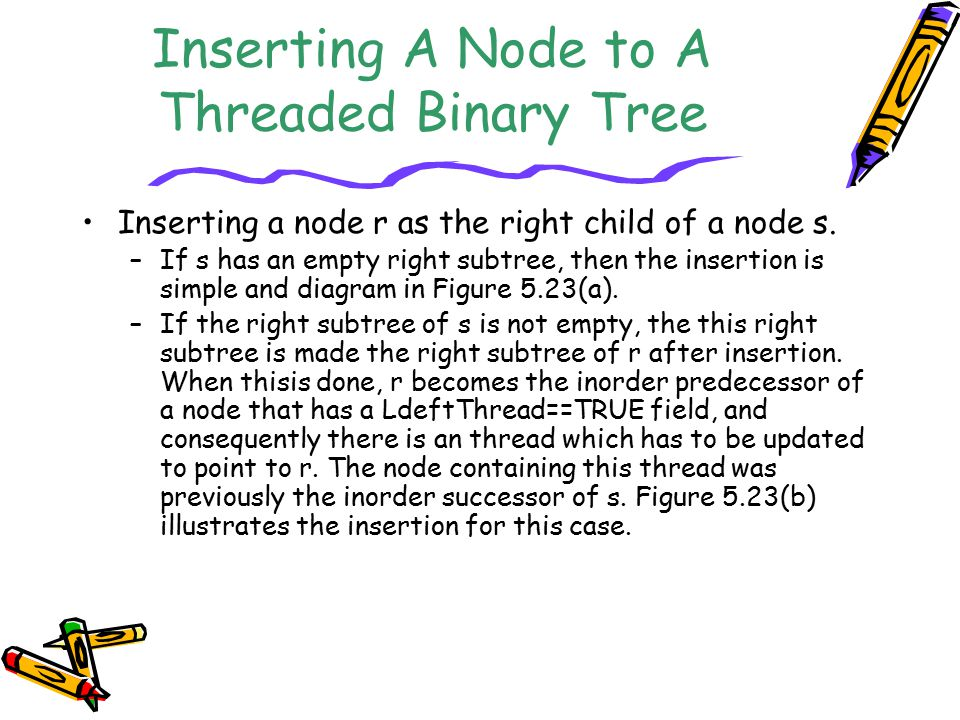 Inserting A Node to A Threaded Binary Tree Inserting a node r as the right child of a node s. –If s has an empty right subtree, then the insertion is