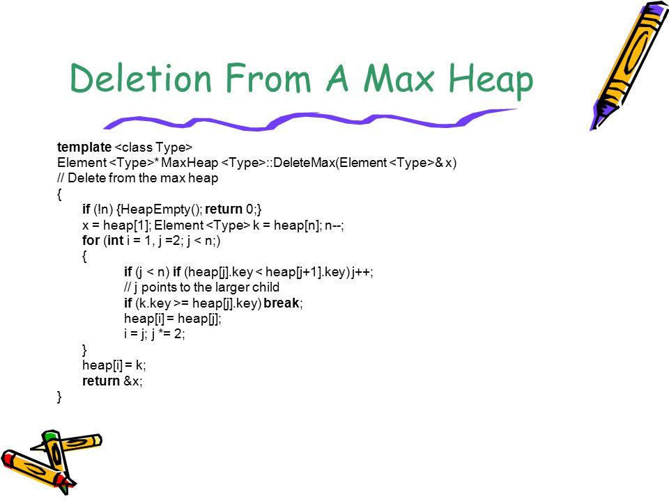 Deletion From A Max Heap template Element * MaxHeap ::DeleteMax(Element & x) // Delete from the max heap { if (!n) {HeapEmpty(); return 0;} x = heap[1