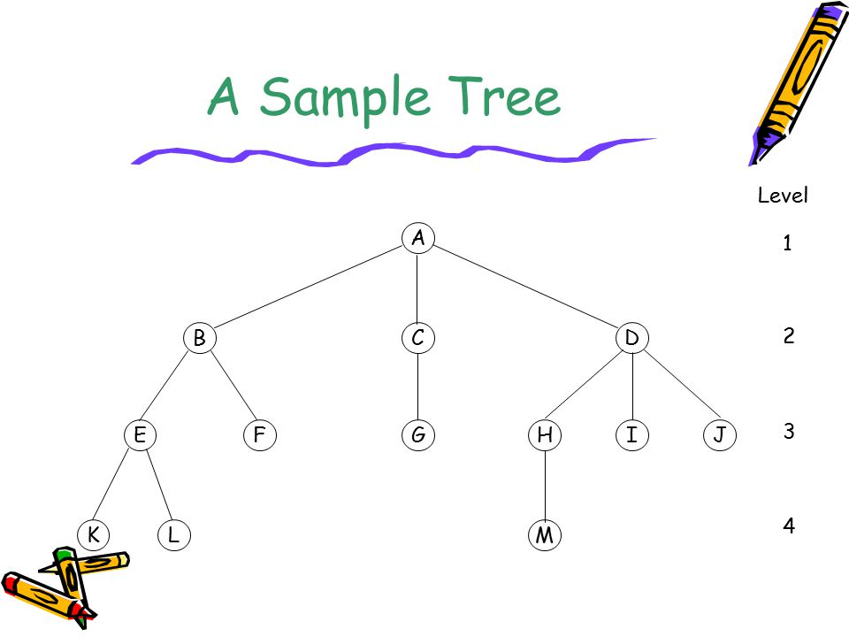A Sample Tree A BCD EFGHIJ KLM Level 1 2 3 4