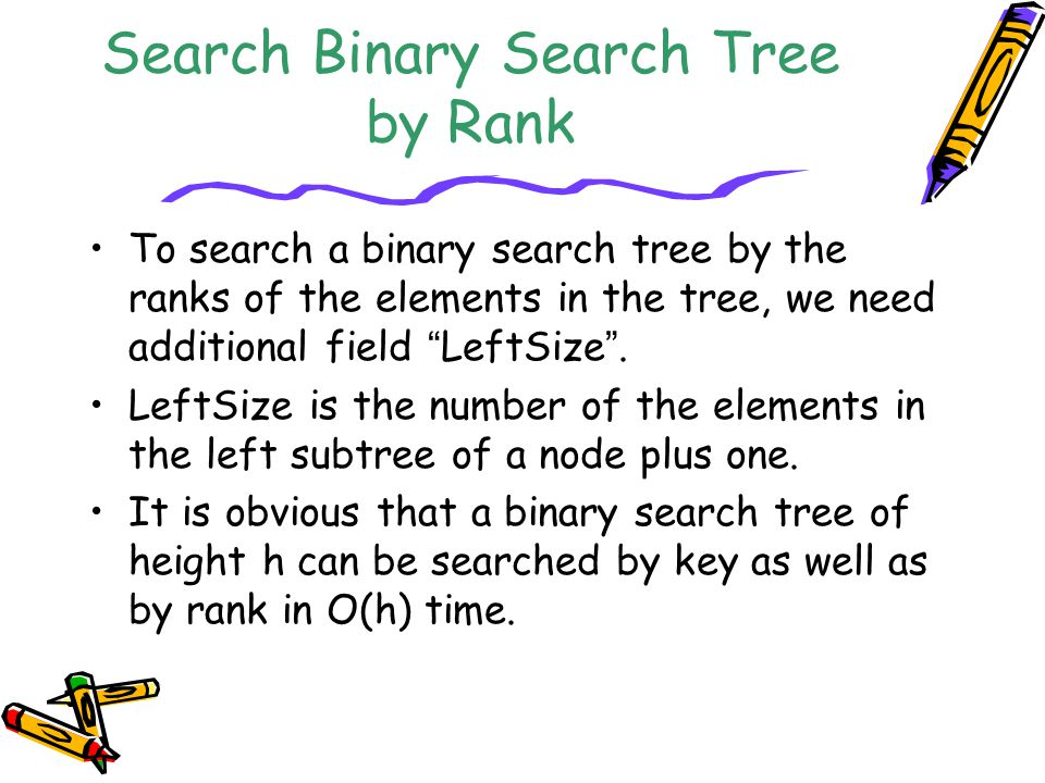 """Search Binary Search Tree by Rank To search a binary search tree by the ranks of the elements in the tree, we need additional field """" LeftSize """". Left"""