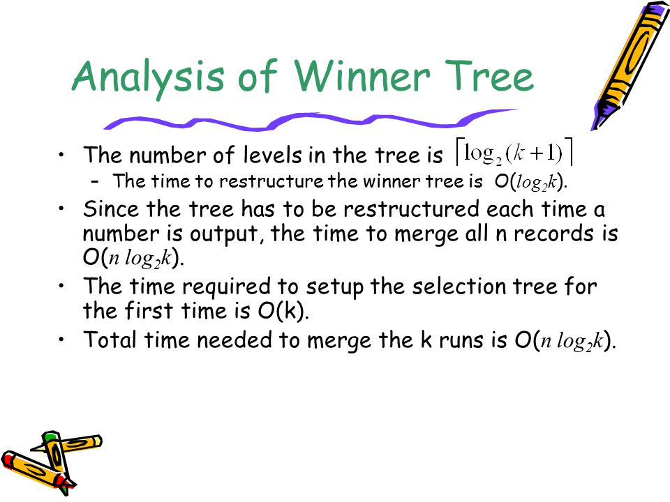 Analysis of Winner Tree The number of levels in the tree is –The time to restructure the winner tree is O( log 2 k ). Since the tree has to be restruc