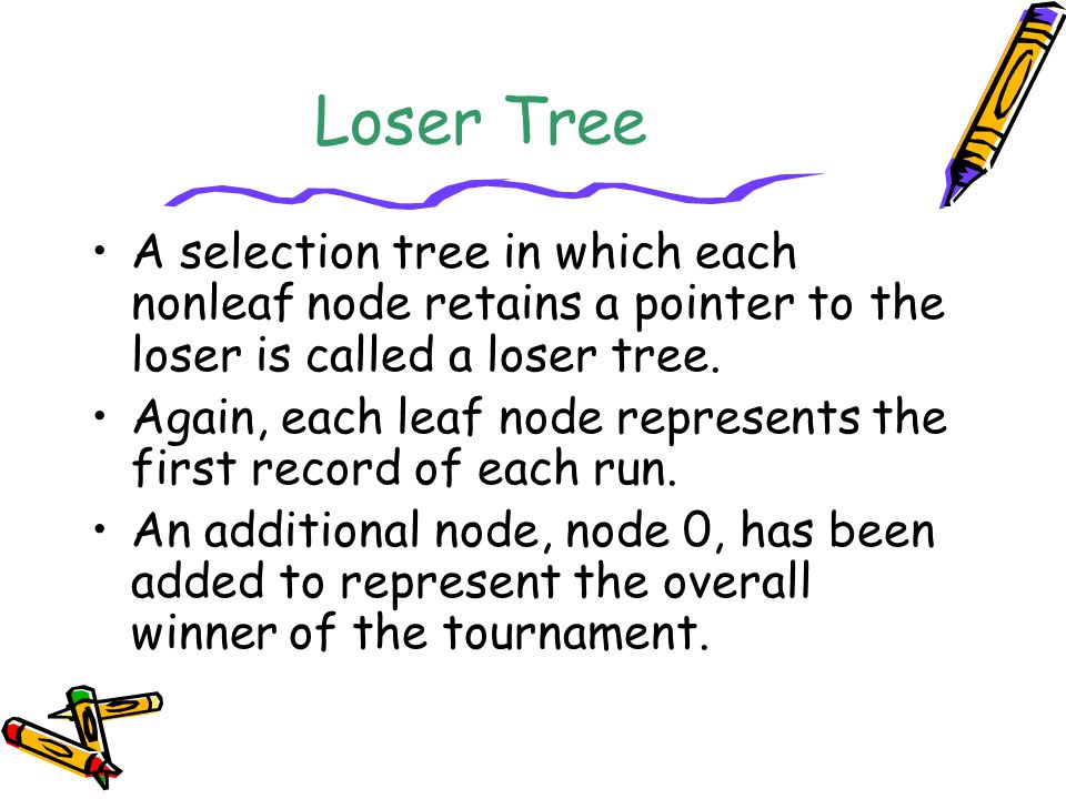 Loser Tree A selection tree in which each nonleaf node retains a pointer to the loser is called a loser tree. Again, each leaf node represents the fir