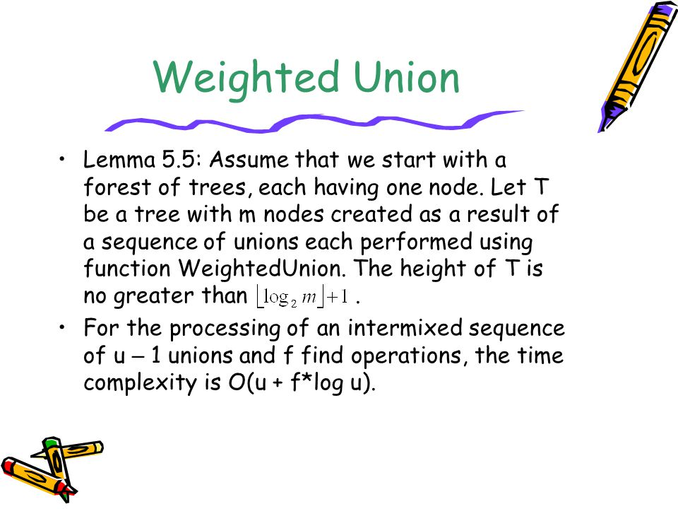Weighted Union Lemma 5.5: Assume that we start with a forest of trees, each having one node. Let T be a tree with m nodes created as a result of a seq