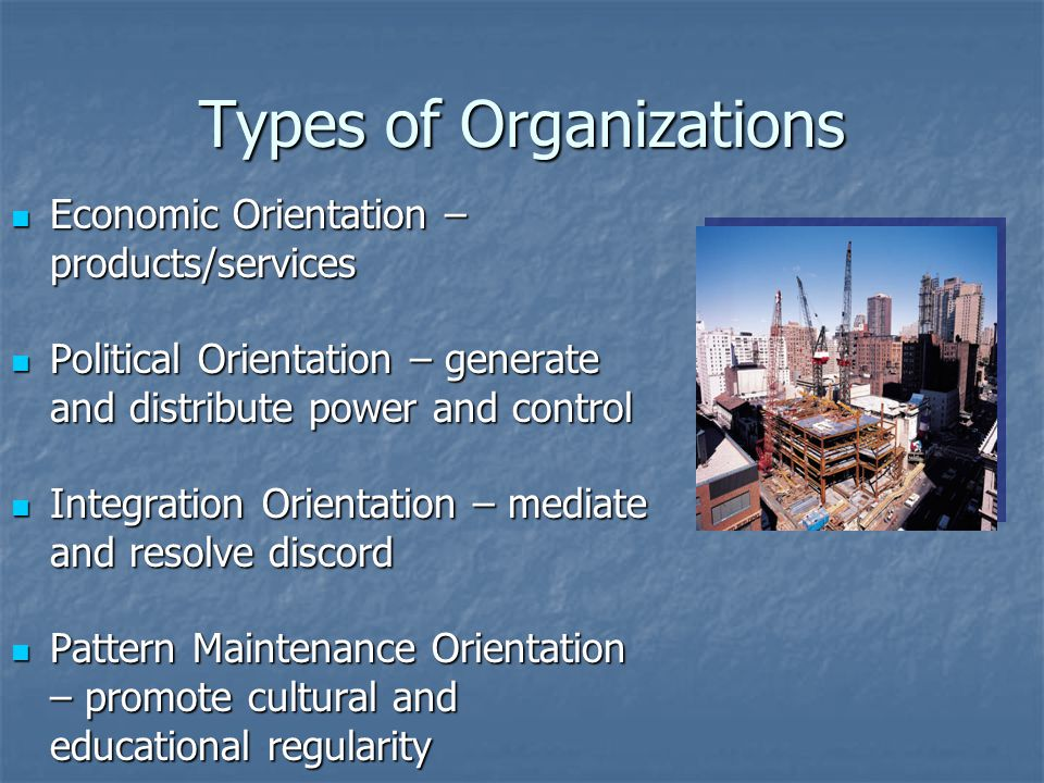 Types of Organizations Economic Orientation – products/services Economic Orientation – products/services Political Orientation – generate and distribu