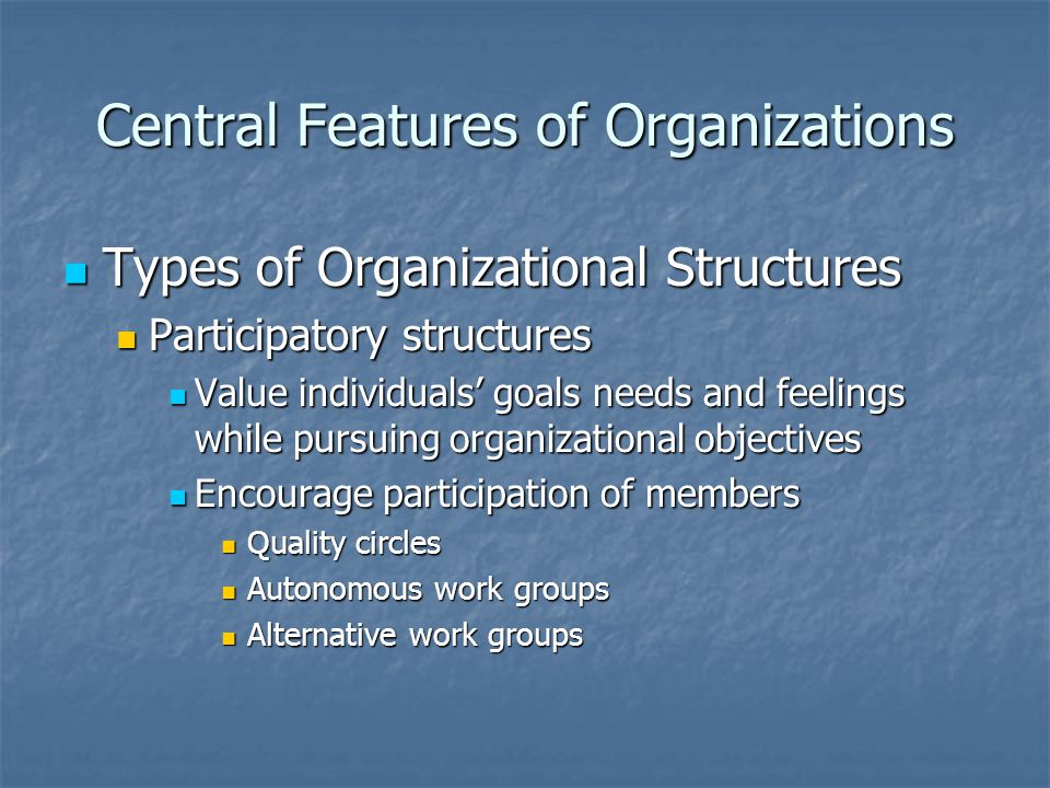 Central Features of Organizations Types of Organizational Structures Types of Organizational Structures Participatory structures Participatory structu
