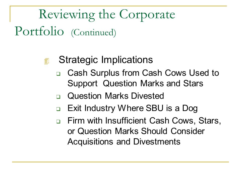 Reviewing the Corporate Portfolio (Continued) 4 Strategic Implications  Cash Surplus from Cash Cows Used to Support Question Marks and Stars  Question Marks Divested  Exit Industry Where SBU is a Dog  Firm with Insufficient Cash Cows, Stars, or Question Marks Should Consider Acquisitions and Divestments
