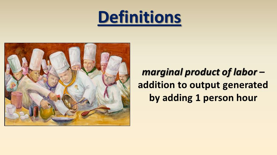 Definitions marginal product of labor marginal product of labor – addition to output generated by adding 1 person hour