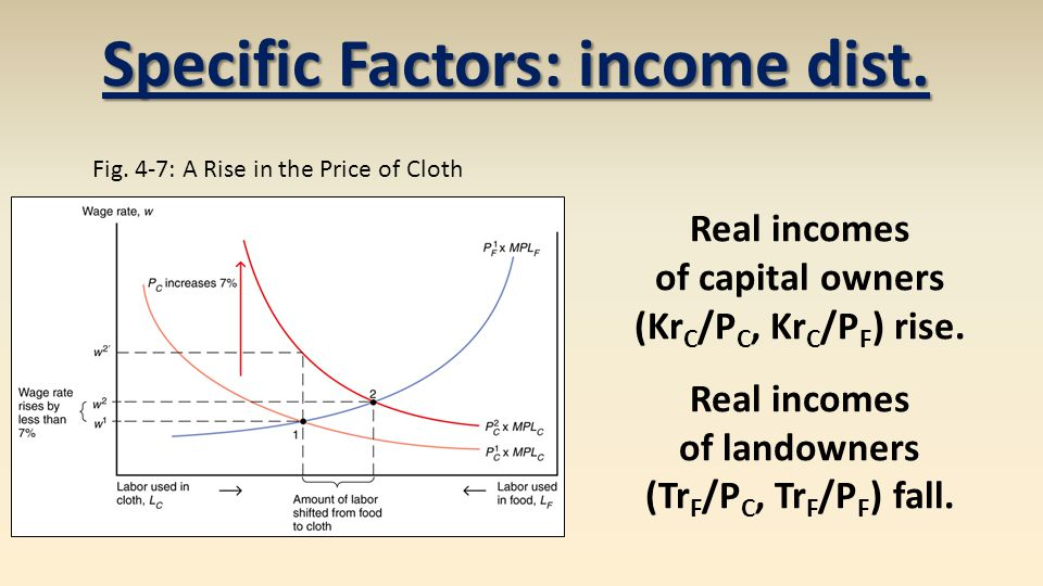 Real incomes of capital owners (Kr C /P C, Kr C /P F ) rise.