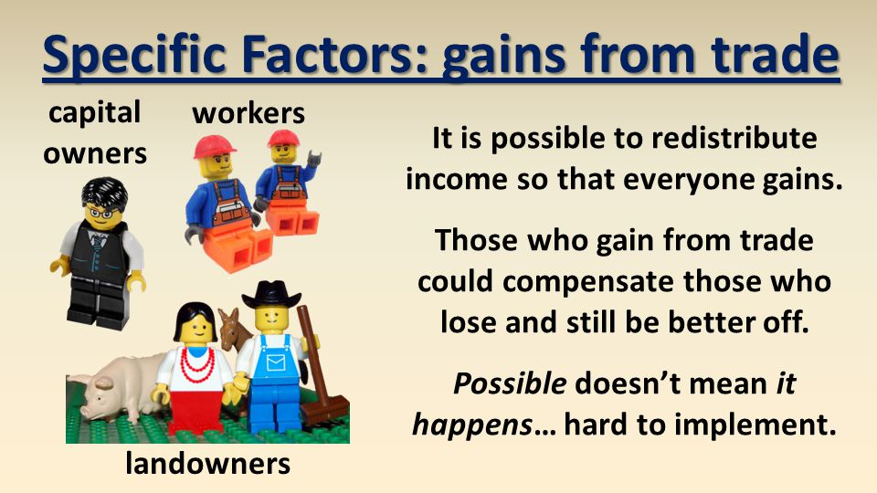workers capital owners landowners Specific Factors: gains from trade It is possible to redistribute income so that everyone gains.