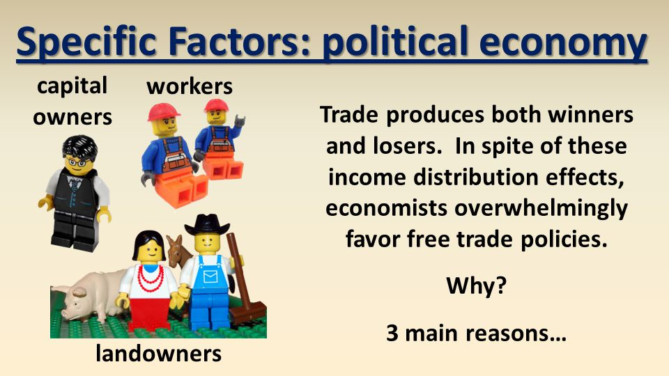 Specific Factors: political economy Trade produces both winners and losers.