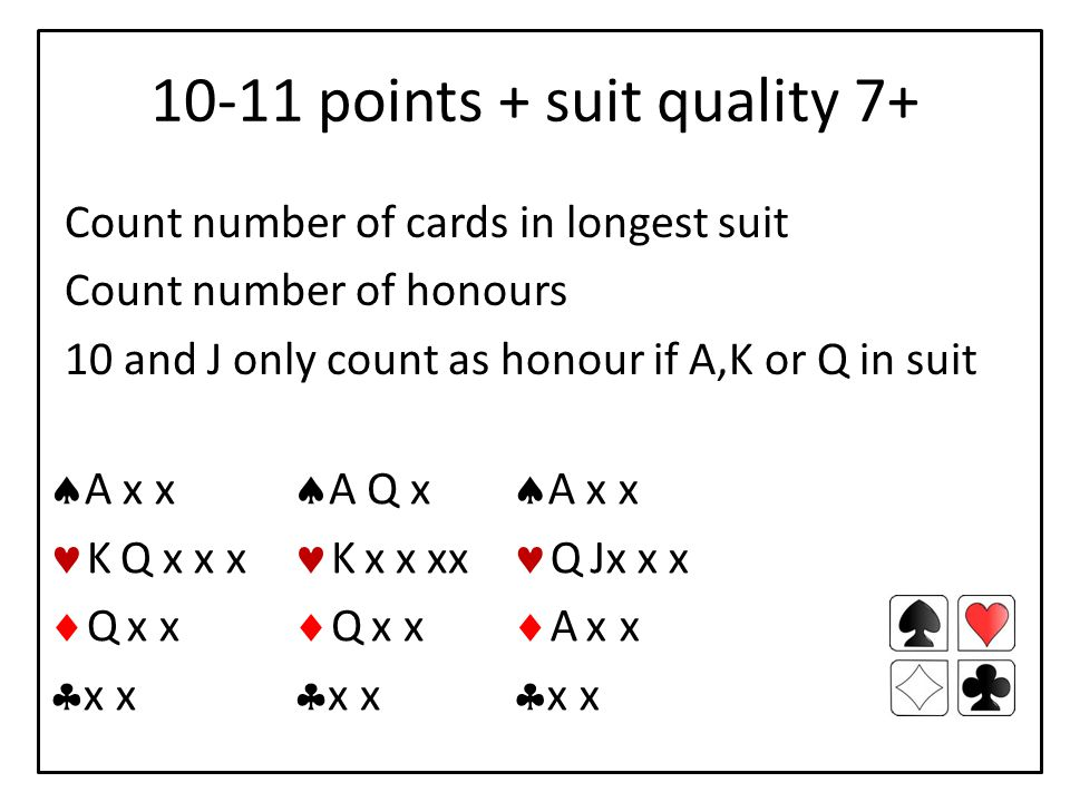10-11 points + suit quality 7+ Count number of cards in longest suit Count number of honours 10 and J only count as honour if A,K or Q in suit  A x x K Q x x x  Q x x  x x  A Q x K x x xx  Q x x  x x  A x x Q Jx x x  A xx  x x