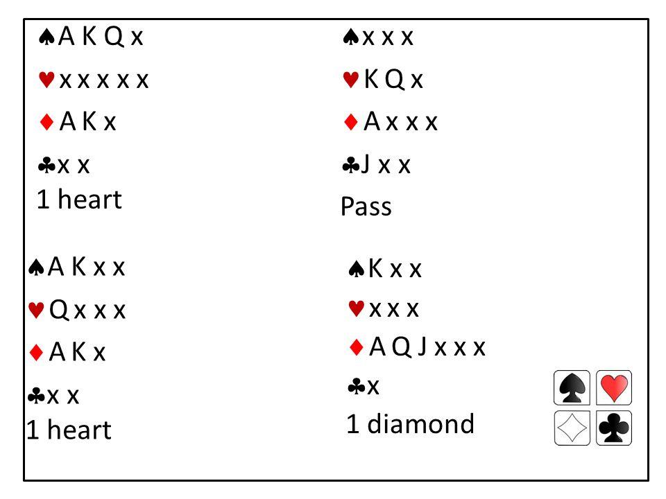  A K Q x x x x x x  A K x  x x 1 heart  x x x K Q x  A x x x  J x x Pass  K x x x x x  A Q J x x x xx 1 diamond  A K x x Q x x x  A K x  x x 1 heart