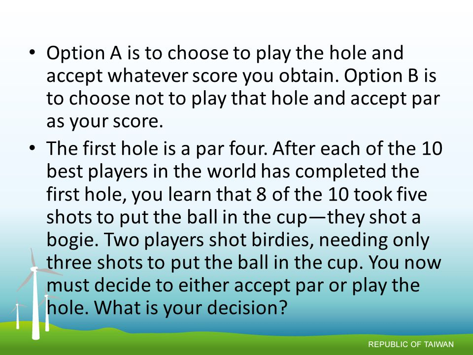 Option A is to choose to play the hole and accept whatever score you obtain.