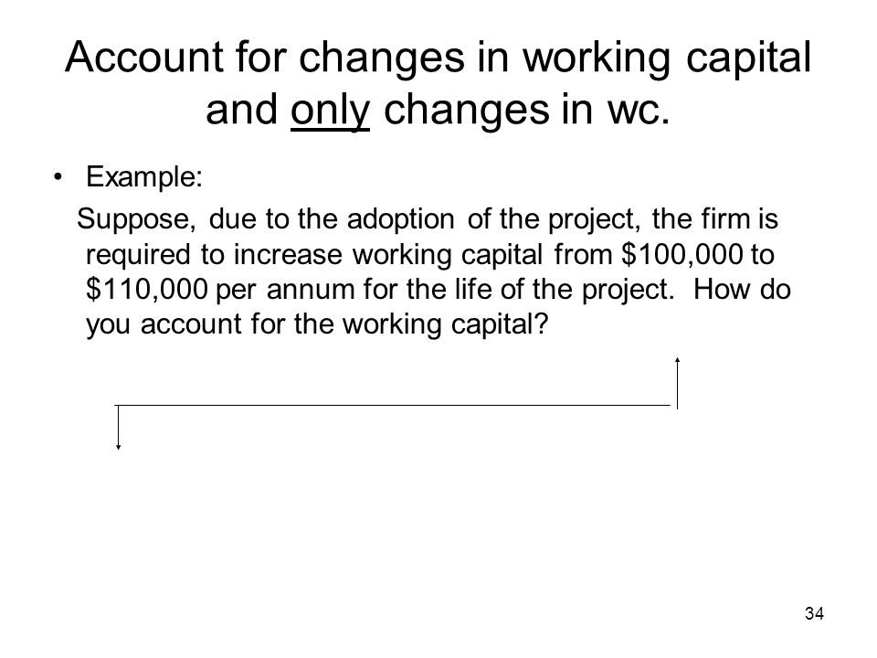 34 Account for changes in working capital and only changes in wc.