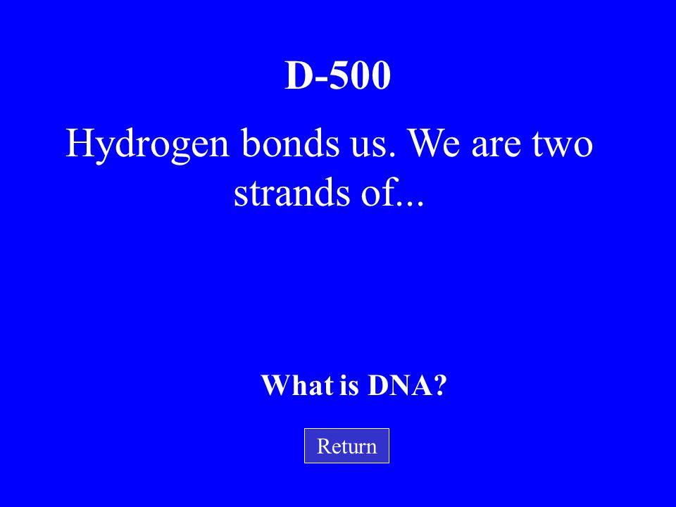 D-400 Return I have a five carbon sugar, a nitrogen base and a phosphoric acid molecule. I am …. What is a Nucleic Acid?