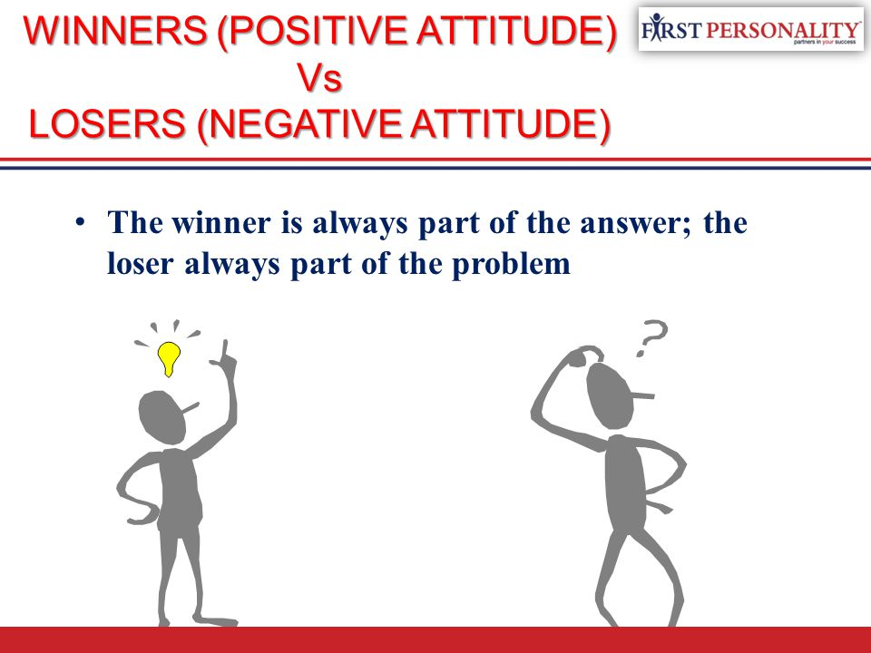 WINNERS (POSITIVE ATTITUDE) Vs LOSERS (NEGATIVE ATTITUDE) The winner is always part of the answer; the loser always part of the problem