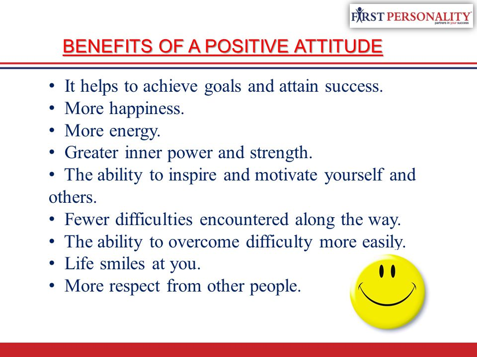 It helps to achieve goals and attain success. More happiness. More energy. Greater inner power and strength. The ability to inspire and motivate yours