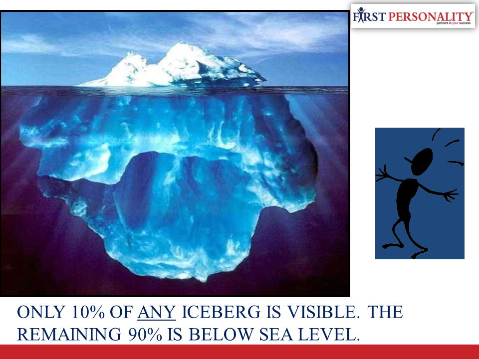 THE ICEBERG ONLY 10% OF ANY ICEBERG IS VISIBLE. THE REMAINING 90% IS BELOW SEA LEVEL.