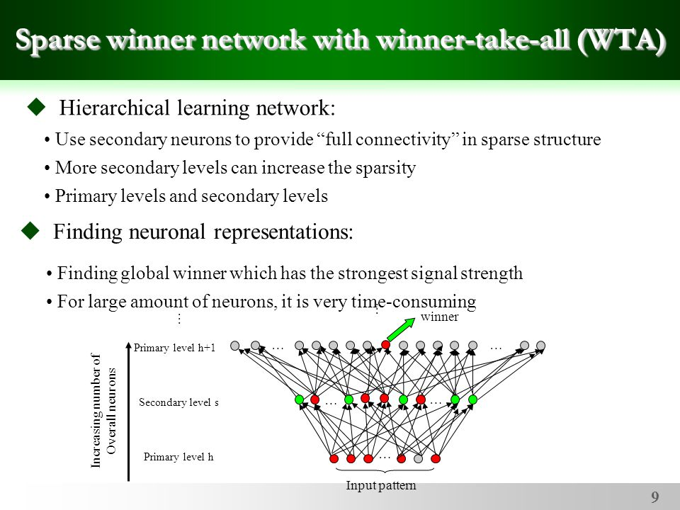 9 Use secondary neurons to provide full connectivity in sparse structure More secondary levels can increase the sparsity Primary levels and secondary levels Sparse winner network with winner-take-all (WTA)  Hierarchical learning network: Finding global winner which has the strongest signal strength For large amount of neurons, it is very time-consuming  Finding neuronal representations: