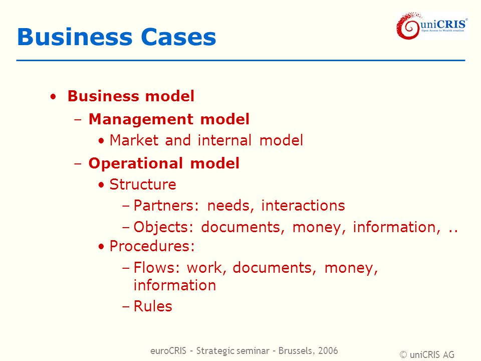 © uniCRIS AG euroCRIS – Strategic seminar – Brussels, 2006 Business Cases Business model –Management model Market and internal model –Operational model Structure –Partners: needs, interactions –Objects: documents, money, information,..