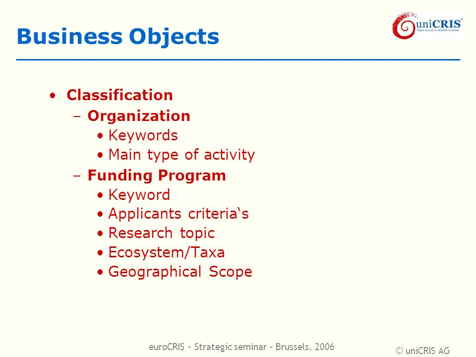 © uniCRIS AG euroCRIS – Strategic seminar – Brussels, 2006 Business Objects Classification –Organization Keywords Main type of activity –Funding Program Keyword Applicants criteria's Research topic Ecosystem/Taxa Geographical Scope