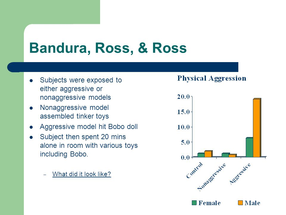 Bandura, Ross, & Ross Subjects were exposed to either aggressive or nonaggressive models Nonaggressive model assembled tinker toys Aggressive model hi