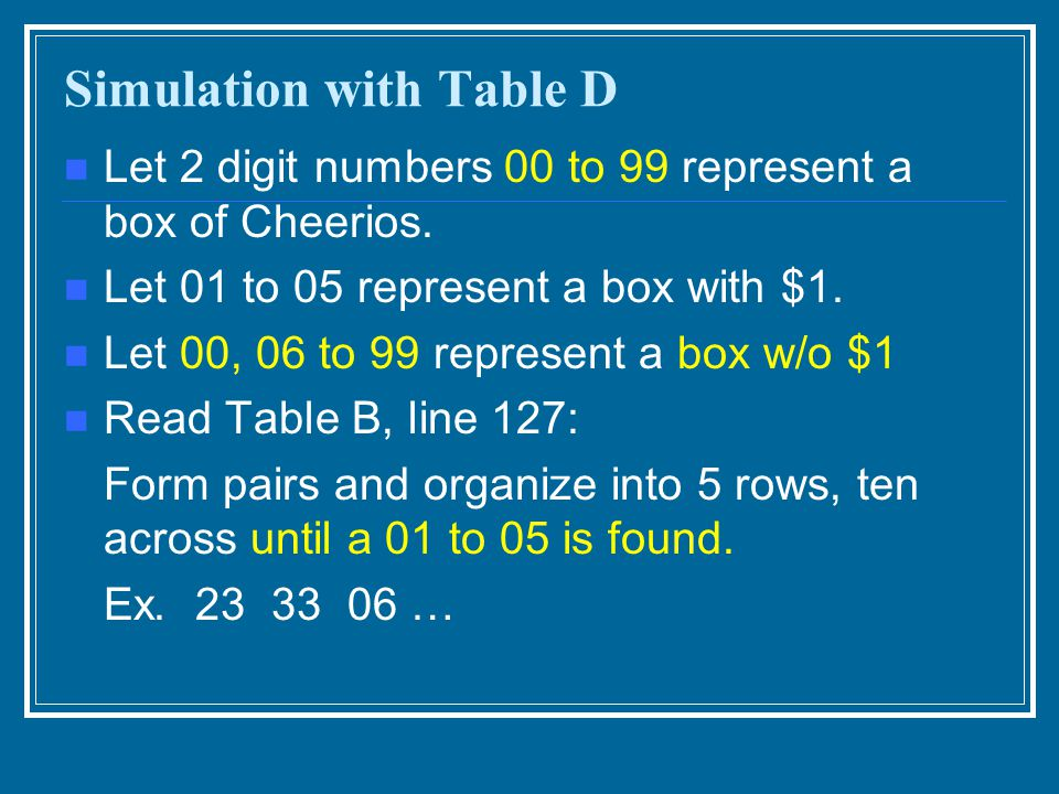 Simulation with Table D Let 2 digit numbers 00 to 99 represent a box of Cheerios.