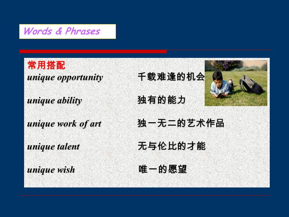 Words & Phrases 常用搭配 unique opportunity 千载难逢的机会 unique ability 独有的能力 unique work of art 独一无二的艺术作品 unique talent 无与伦比的才能 unique wish 唯一的愿望